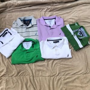 Lot if 6 Nautica & Tommy Hilfiger polos medium